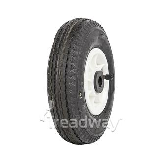 "Wheel 4"" Plastic Narrow White ¾"" Bush Rim 280/250-4 4ply Sawtooth Tyre W105"