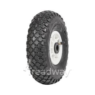 "Wheel 4"" Plastic Narrow White ¾"" Bush Rim 300-4 4ply Diamond Tyre W108 Deestone"