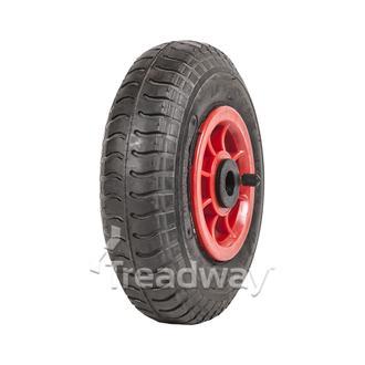 "Wheel 4"" Plastic Red ¾"" Bush Rim 250-4 4ply Industrial Tyre W102 Deestone"