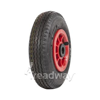 "Wheel 4"" Plastic Red ¾"" Bush Rim 280/250-4 4ply Sawtooth Tyre W105"