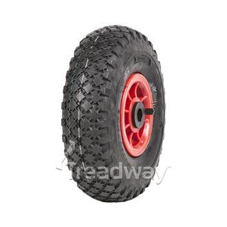 "Wheel 4"" Plastic Red ¾"" Bush Rim 300-4 4ply Diamond Tyre W108 Deestone"
