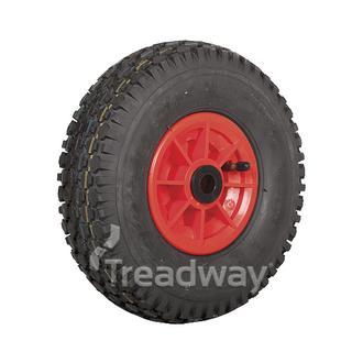 "Wheel 5"" Plastic Red ¾"" Bush Rim 410/350-5 4ply Diamond Tyre W108"