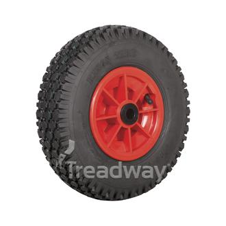 "Wheel 6"" Plastic Red ¾"" Bush Rim 410/350-6 4ply Diamond Tyre W108"