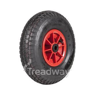 "Wheel 6"" Plastic Red ¾"" Bush Rim 400-6 4ply Barrow Tyre W110 Deestone"