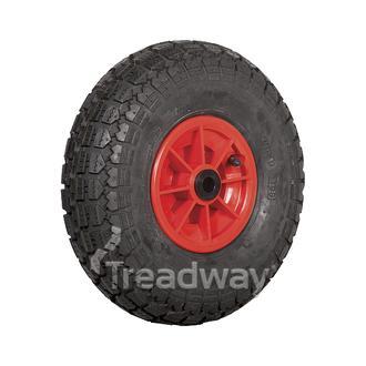 """Wheel 6"""" Plastic Red ¾"""" Bush Rim 400-6 4ply HD Tyre W106"""