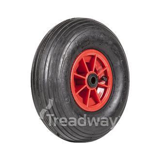 """Wheel 6"""" Plastic Red ¾"""" Bush Rim 400-6 4ply Rib Tyre W104 Deestone"""