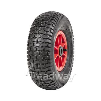 "Wheel 6"" Plastic Red ¾"" Bush Rim 13x500-6 4ply Turf Tyre W130 Deestone"