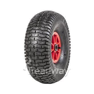 """Wheel 6"""" Plastic Red ¾"""" Bush Rim 15x600-6 4ply Turf Tyre W130 Deestone"""
