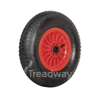 "Wheel 2.50-8"" Plastic Red 1"" Bush Rim 300-8 2ply Barrow Tyre W110"