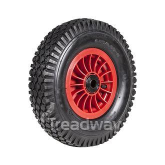 "Wheel 2.50-8"" Plastic Red 2""x1"" Bush Rim 480/400-8 4ply Diamond Tyre W108"
