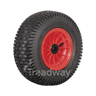 "Wheel 4.75-8"" Plastic Red 1"" Bush Rim 16x650-8 4ply Turf Tyre W130 Deestone"