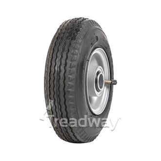 "Wheel 2.50-4"" Silver 1"" FB Rim 280/250-4 4ply Sawtooth Tyre W105"