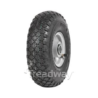 "Wheel 2.50-4"" Silver 1"" FB Rim 300-4 4ply Diamond Tyre W108 +T Deestone"