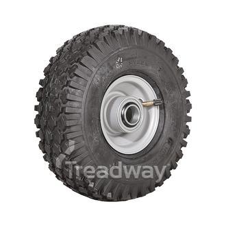 "Wheel 2.50-4"" Silver 1"" FB Rim 410/350-4 4ply Diamond Tyre W108 +T Deestone"