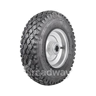 "Wheel 2.50-6"" Silver 1"" FB Rim 410/350-6 4ply Diamond Tyre W108"