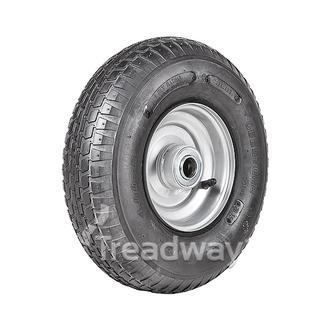 "Wheel 2.50-6"" Silver 1"" FB Rim 400-6 4ply Barrow Tyre W110 Deestone"