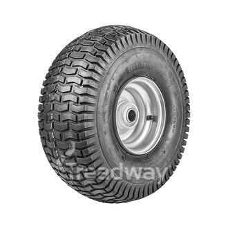 "Wheel 4.50-6"" Silver 1"" FB Rim 15x600-6 4ply Turf Tyre W130 Deestone"