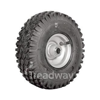 "Wheel 2.50-4"" Silver ¾"" FB Rim 410/350-4 4ply Diamond Tyre W108 +T Deestone"