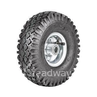 "Wheel 2.50-4"" 2pc Zinc ¾"" FB Rim 410/350-4 4ply Diamond Tyre W108 +T Deestone"