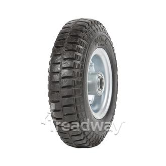 "Wheel 2.50-4"" 2pc Zinc ¾"" FB Rim 250-4 Solid Rubber Tyre W102"