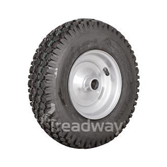 """Wheel 6"""" Silver 1"""" Plain Rim 410/350-6 4ply Diamond Tyre W108"""