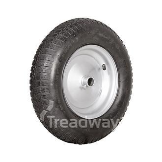 """Wheel 8"""" Silver 1"""" Plain Rim 480/400-8 4ply Barrow Tyre W110 Deestone"""