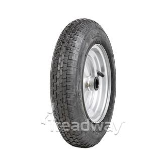 "Wheel 8"" Silver 1"" Bush Rim 300-8 2ply Barrow Tyre W110"