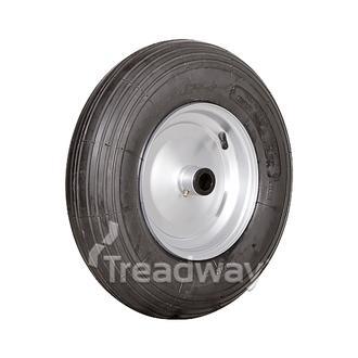 """Wheel 8'' Silver ¾"""" FB Rim 480/400-8 2ply Rib Tyre W104"""