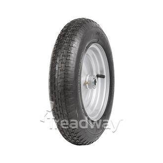 "Wheel 8"" Silver ¾"" FB Rim 300-8 2ply Barrow Tyre W110"