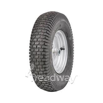 "Wheel 8"" Silver 35mm x ¾"" FB Rim 480/400-8 4ply Turf Tyre W130 Deestone"