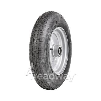 "Wheel 8"" Silver 1"" FB Rim 300-8 2ply Barrow Tyre W110"