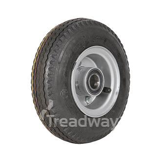 "Wheel 2.50-4"" 2pc Silver 25mm BB Rim 280/250-4 4ply Sawtooth Tyre W105"