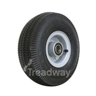 "Wheel 2.50-4"" 2pc Silver 25mm BB Rim 410/350-4 4ply Sawtooth W105 +T Deeston"