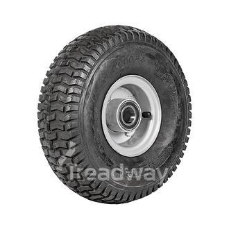 "Wheel 2.50-4"" 2pc Silver 25mm BB Rim 11x400-4 4ply Turf Tyre W130 Deestone"