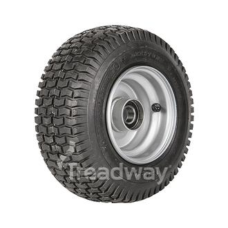 "Wheel 4.50-6"" Silver 25mm BB Rim 13x500-6 4ply Turf Tyre W130 Deestone"