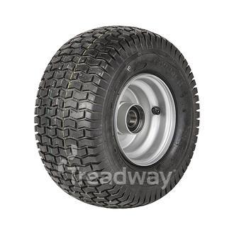 "Wheel 4.50-6"" Silver 25mm BB Rim 13x650-6 4ply Turf Tyre W130 Deestone"