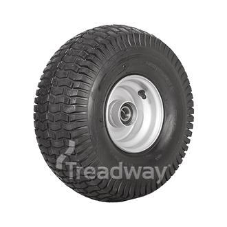 "Wheel 4.50-6"" Silver 25mm BB Rim 15x600-6 4ply Turf Tyre W130 Deestone"