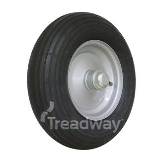 "Wheel 2.5-8"" Silver 25mm NSK BB/seal Rim 480/400-8 2ply Rib Tyre W104"