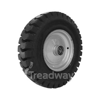 "Wheel 2.50-8"" Silver 25mm BB Rim 400-8 Solid Rubber Tyre W102"