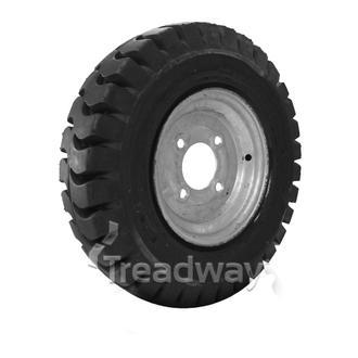 "Wheel 2.50-8"" Galv 4x4"" PCD Rim 400-8 Solid Rubber Tyre W102"