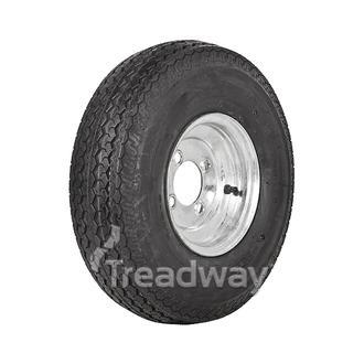 """Wheel 4.00-10"""" Galv 4x4"""" PCD Rim 500-10 8ply Road Tyre W116 Deestone"""