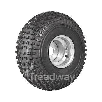 "Wheel 9.00-9"" Galv 4x4"" PCD 3+6 Offset Rim 25x12-9 4ply Knobby Tyre W136"