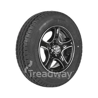 "Wheel 14x5.5"" Alloy Razor Black 5x4.5"" PCD Rim 185R14C 8ply Tyre W312 Goodride"