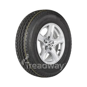 "Wheel 14x5.5"" Alloy Razor Silver 5x4.5"" PCD Rim 185R14C 8ply Tyre W305"