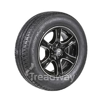 "Wheel 15x6"" Alloy Razor Black 5x4.5"" PCD Rim 195/70R15C 8ply Tyre W185"