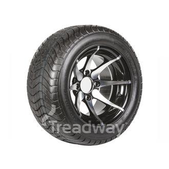 "Wheel 12x7"" Alloy Skimax Black 4x4"" PCD Rim 215/40-12 4ply Road Tyre W152"