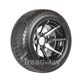 "Wheel 12x7"" Alloy Skimax Black 4x4"" PCD Rim 215/35-12 4ply Road Tyre W152"