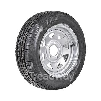 "Wheel 14x6"" Galv Spoke 5x4.5"" (10mm OS) PCD Rim 195/60R14 Hi Load Tyre W189 Trax"