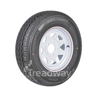 """Wheel 14x6"""" White Spoke 5x4.5"""" 10ET PCD Rim 195R14C 8ply Tyre W312 Wesklake"""