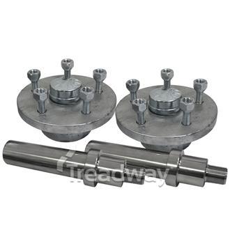 """Hub Set 1800kg Easy Hub 5x4.5"""" PCD 39mm Axles Knott Compact Bearings"""